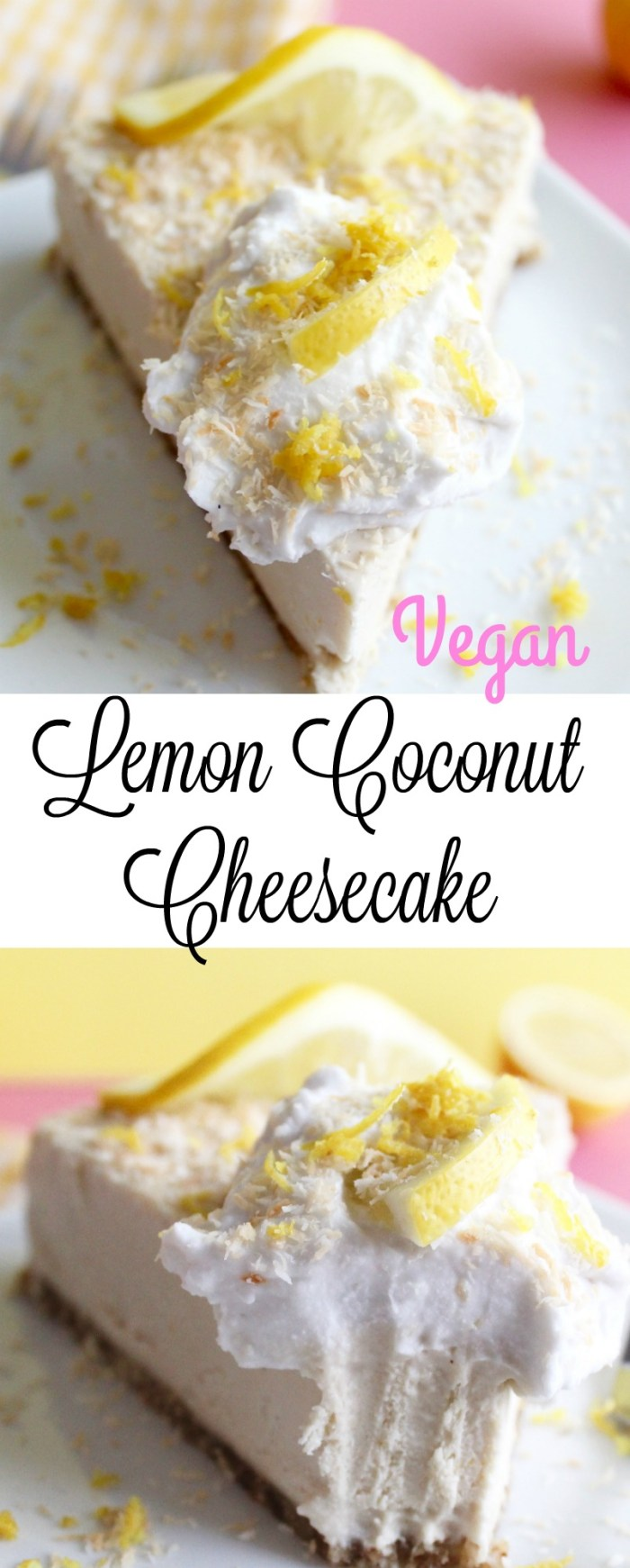 This Vegan Lemon Coconut Cheesecake is out of this world! It's naturally sweetened and gluten free too!