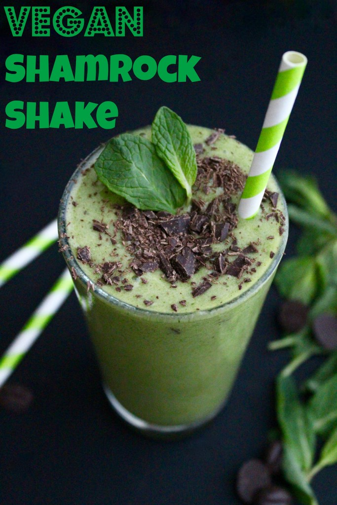 Vegan Shamrock Shake. So yummy! The perfect mint smoothie for your sweet tooth!