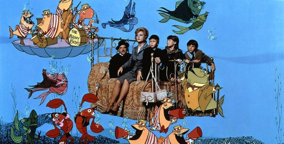 Group of people sitting on a bed surrounded by animated fish from Bedknobs and Broomsticks