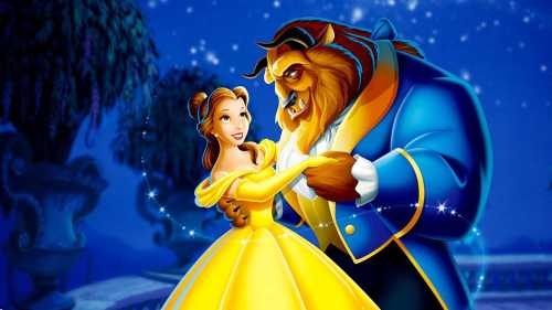 Animated Belle and the Beast dancing in fancy clothes at night