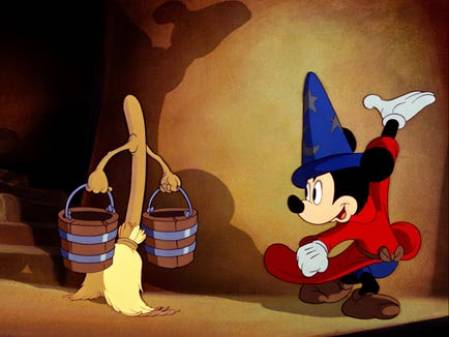 Mickey Mouse leading a broom carrying water buckets from The Sorcerer's Apprentice scene in Fantasia