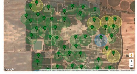Map showing hive quality across an entire farm.
