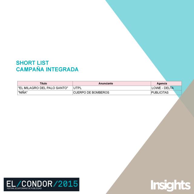 shortlist campaña integrada Cóndor 2015