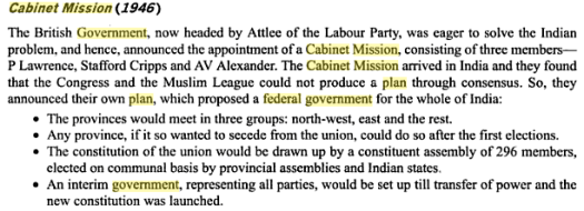 cabinet mission proposals federal government