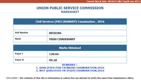 yash chaudhary prelims rank 258
