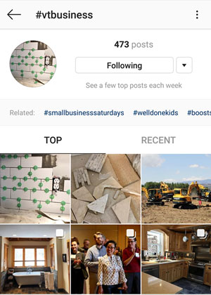 #vtbusiness hashtag search shows results