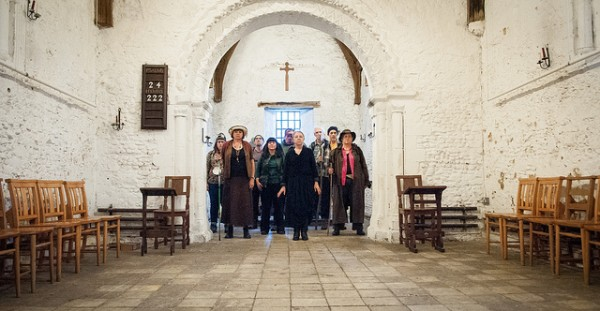 in situ:'s Canterbury Tales cast pictured inside The Leper Chapel