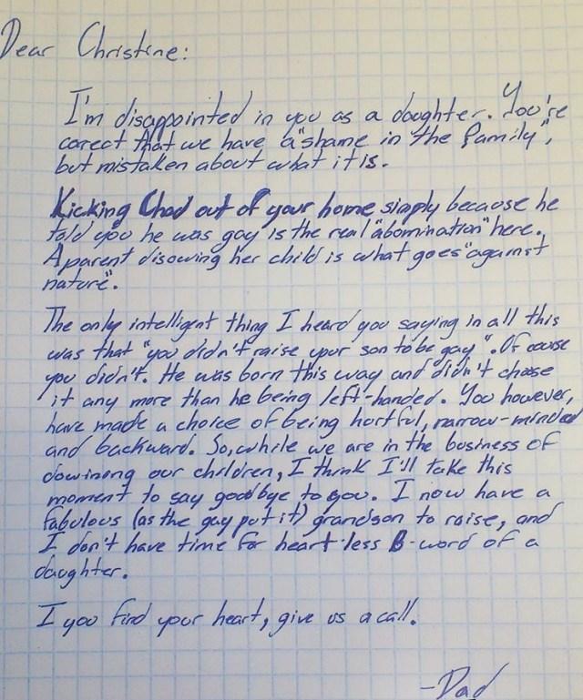 Avô escreve carta para sua filha que expulsou o próprio filho por ser gay
