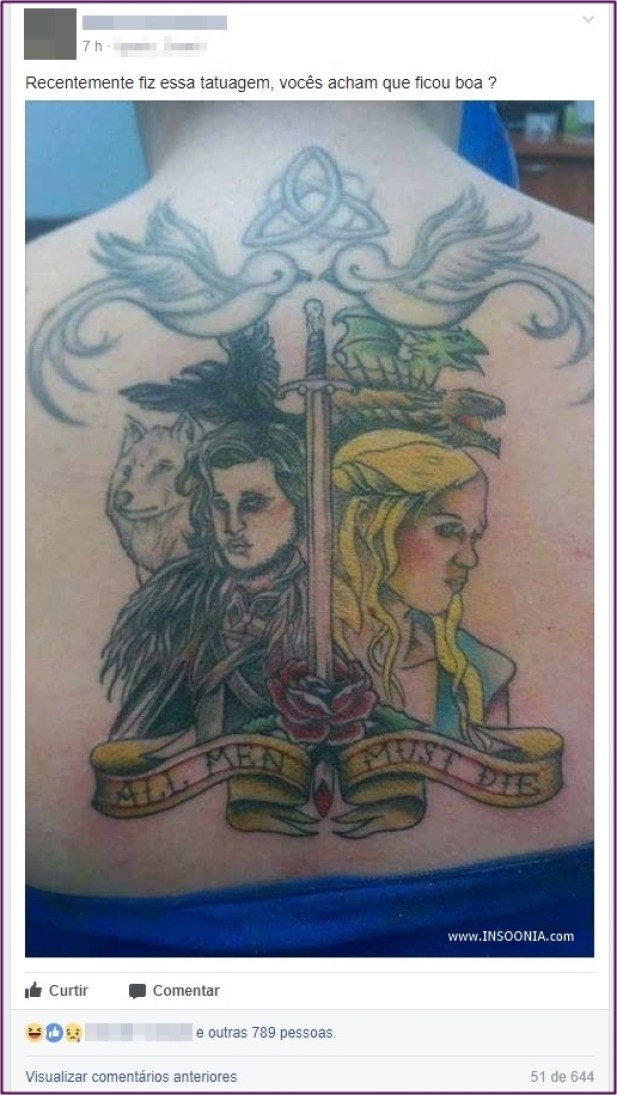 tatuagem de Game of Thrones