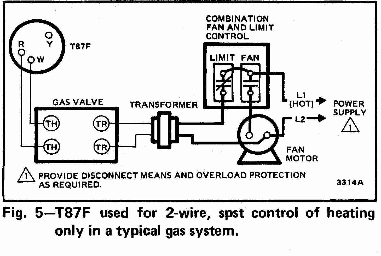 TT_T87F_0002_2Wg_DJF hvac wiring schematics 90 340 relay wiring diagrams Basic HVAC Wiring Diagrams at reclaimingppi.co