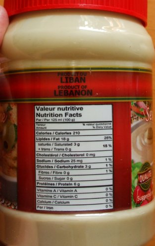 Clic Pâte de sésame Tahina-Ingredient List
