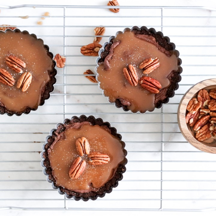 Low Carb Salted Caramel Brownie Tarts