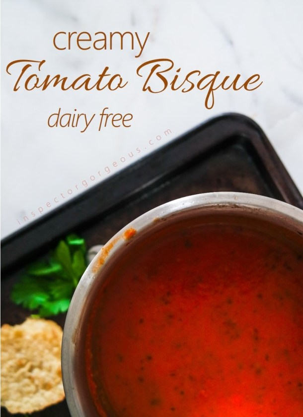 Creamy Tomato Bisque with Fresh Basil and Lies The Groundhog Told
