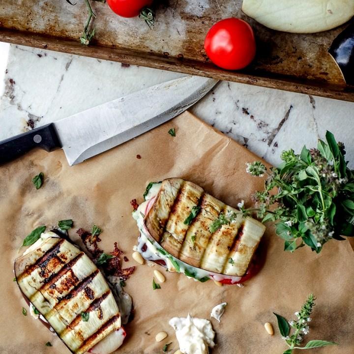 Caprese Eggplant Panini with Lemon Basil Aioli
