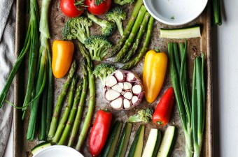 Incredibly Easy Sheet Pan Veggies & Creamy Baked Feta {Low Carb & Vegetarian!}