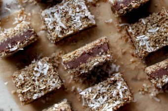 No Bake Vegan Chocolate Silk Coconut Crunch Bars