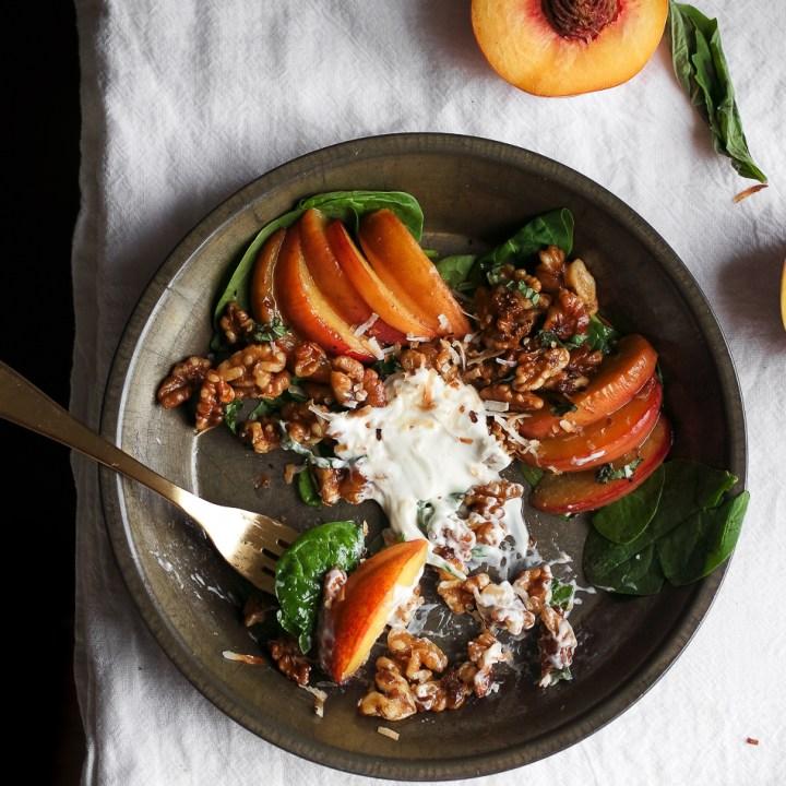 Warm Ginger Peach and Walnut Breakfast Salad