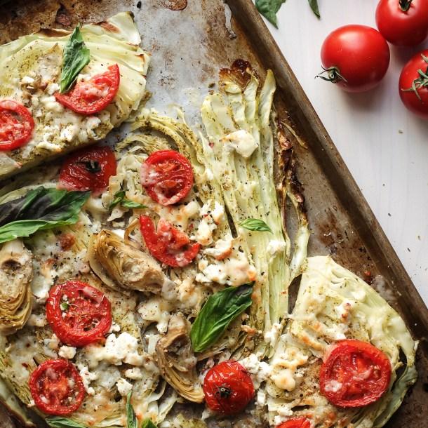 Mediterranean Roasted Cabbage Steaks with Basil Pesto & Feta