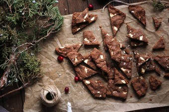 White Chocolate Gingerbread Brownie Bark