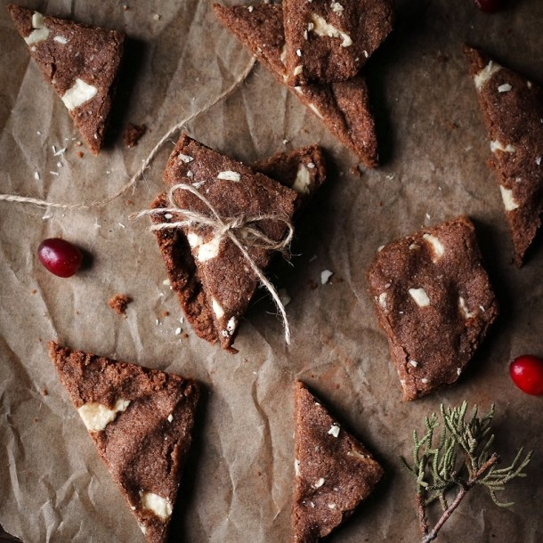White Chocolate Gingerbread Brownie Bark