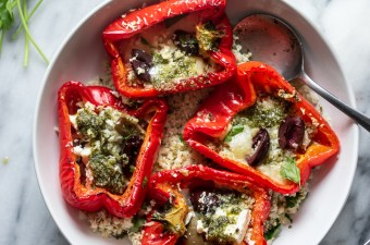 Mediterranean Roasted Red Peppers & Pesto Cauliflower Rice {Low Carb & GF}