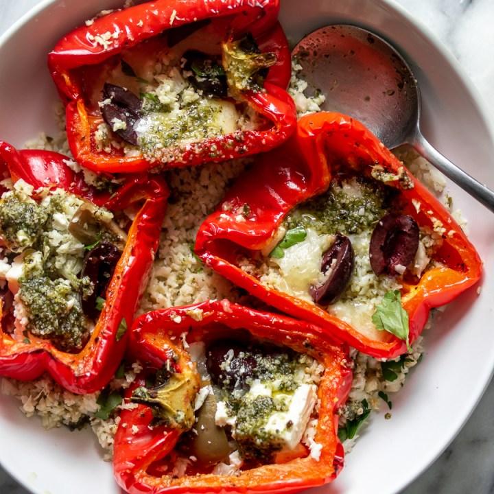 Keto Mediterranean Stuffed Peppers