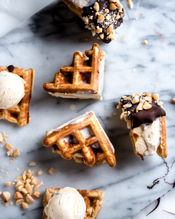 Chocolate Dipped Waffle Ice Cream Sandwiches