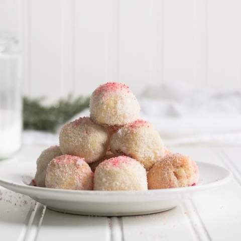 Peppermint Snowball Cookies {GF & Low Carb}