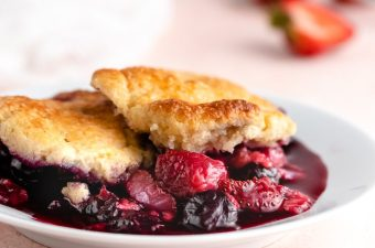 Warm Summer Berry Cobbler {Gluten Free & Low Carb}