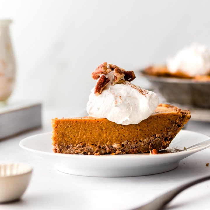 Easy Pumpkin Pie with Salted Pecan Crust (Dairy Free Keto)