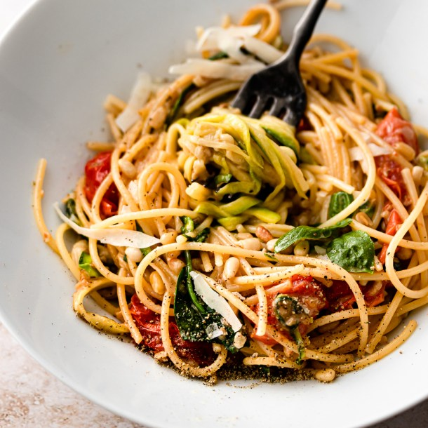 Zucchini Pasta with Tomatoes Basil and Parmesan