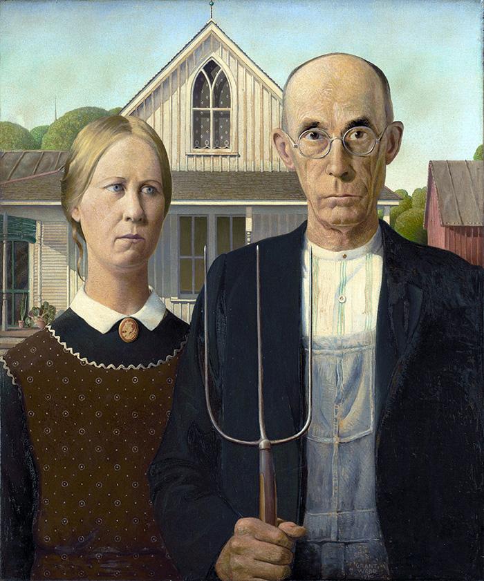 """Foto da obra original """"American Gothic"""""""