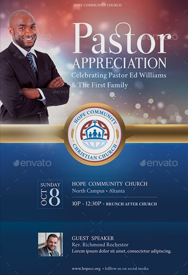 Hope Pastor Appreciation Flyer Poster Template