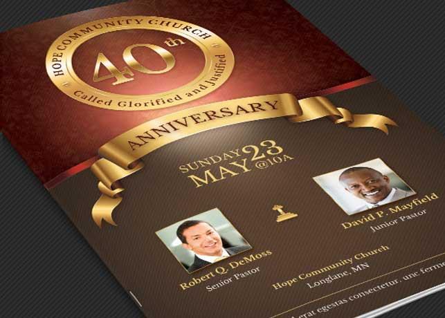 clergy anniversary service program templates creative market