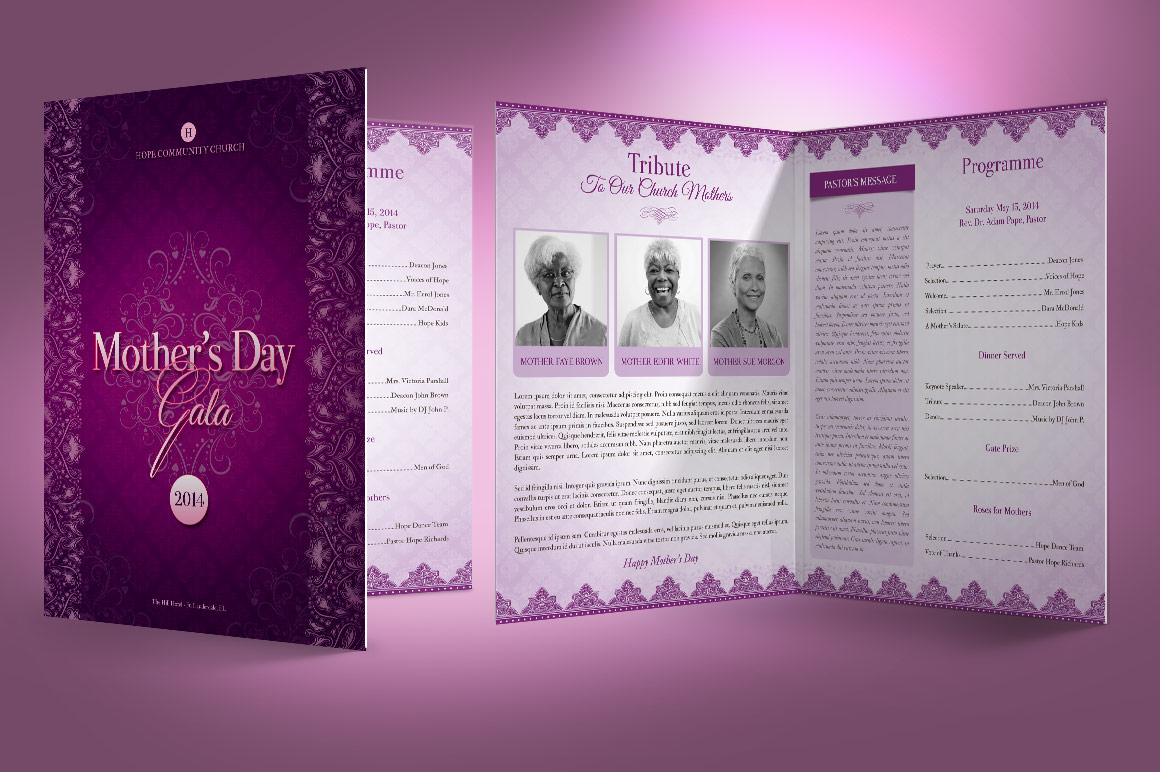 lavender mothers day gala program template is