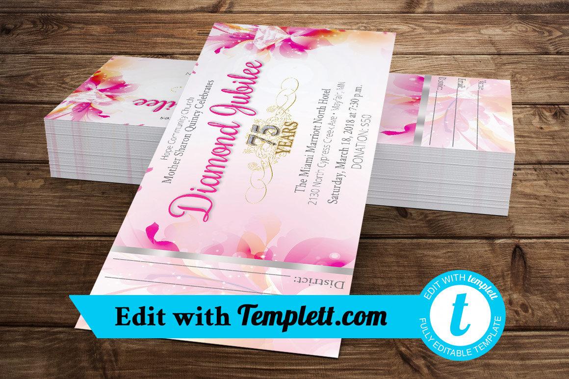 Fuchsia Diamond Jubilee Ticket Templett