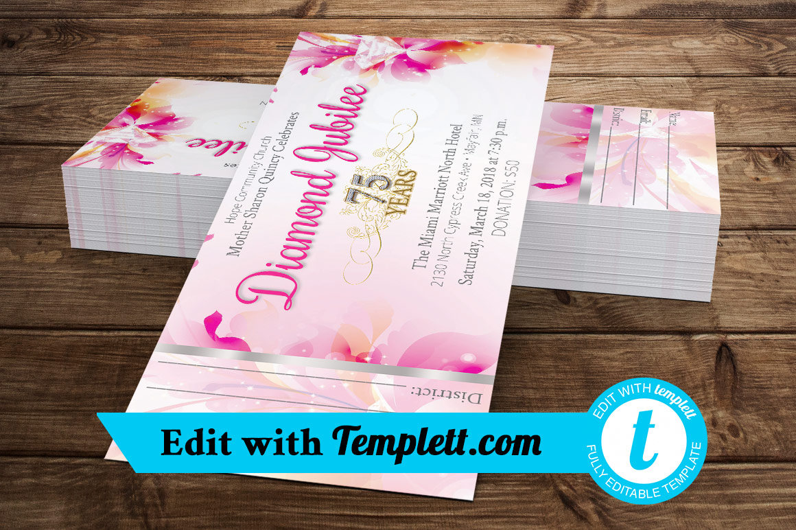 Fuchsia Diamond Jubilee Ticket Templett