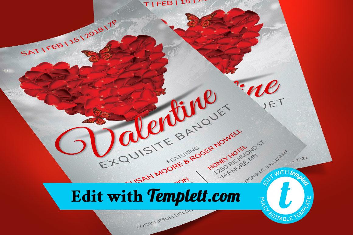 Petals Valentines Banquet Flyer Templett