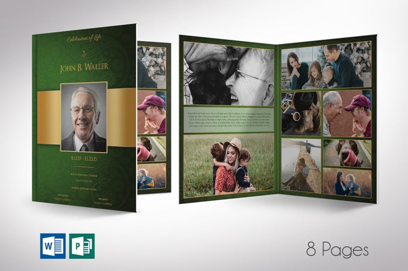 Green gold Funeral Program Word