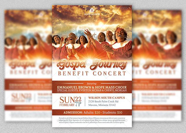 Gospel Benefit Concert Church Flyer Template
