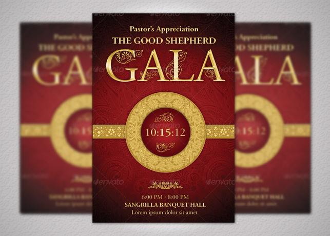 Pastors Appreciation Gala Church Flyer And Ticket