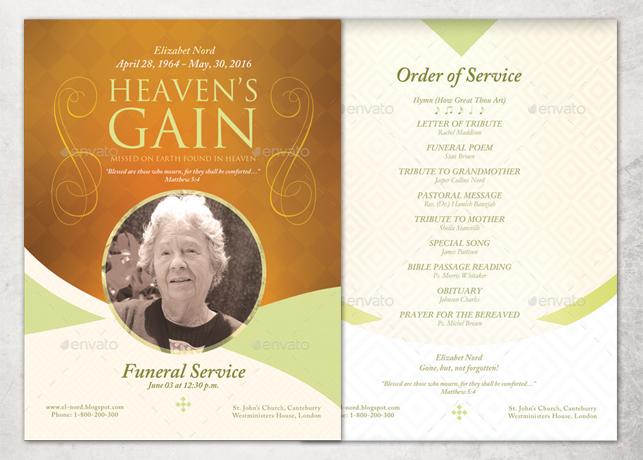 heaven 39 s gain single sheet funeral program template inspiks market. Black Bedroom Furniture Sets. Home Design Ideas