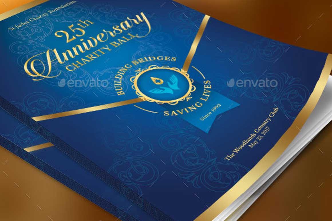 Blue Anniversary Gala Program Cover Template Inspiks Market