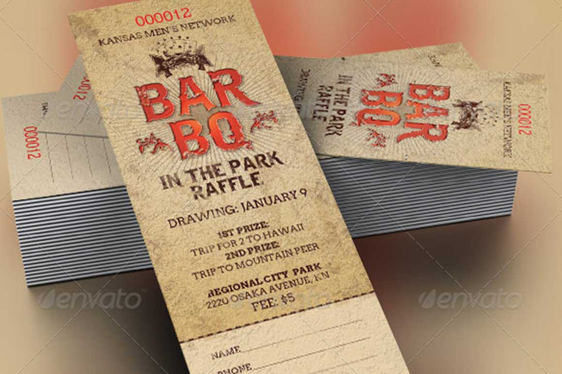 BarBeQue Raffle Ticket Template  Fundraising Ticket Templates