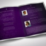 Purple Silver Funeral Program Word Publisher Template