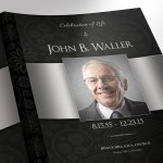 Black Silver Tabloid Funeral Program Word Publisher Template