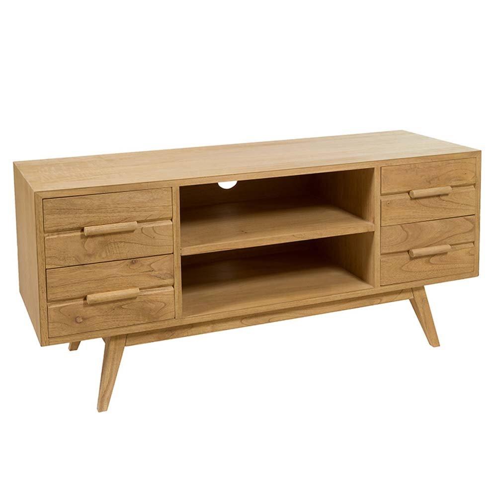 meuble tv en bois de mindy style colonial 120 x 40 cm