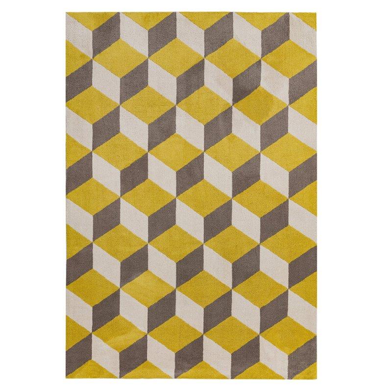 tapis contemporain haut de gamme jaune aux motifs geometriques par joseph lebon inspiration luxe