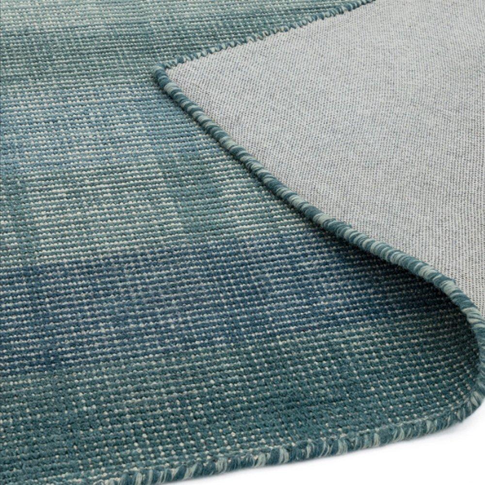 tapis contemporain degrade de bleu en laine et coton
