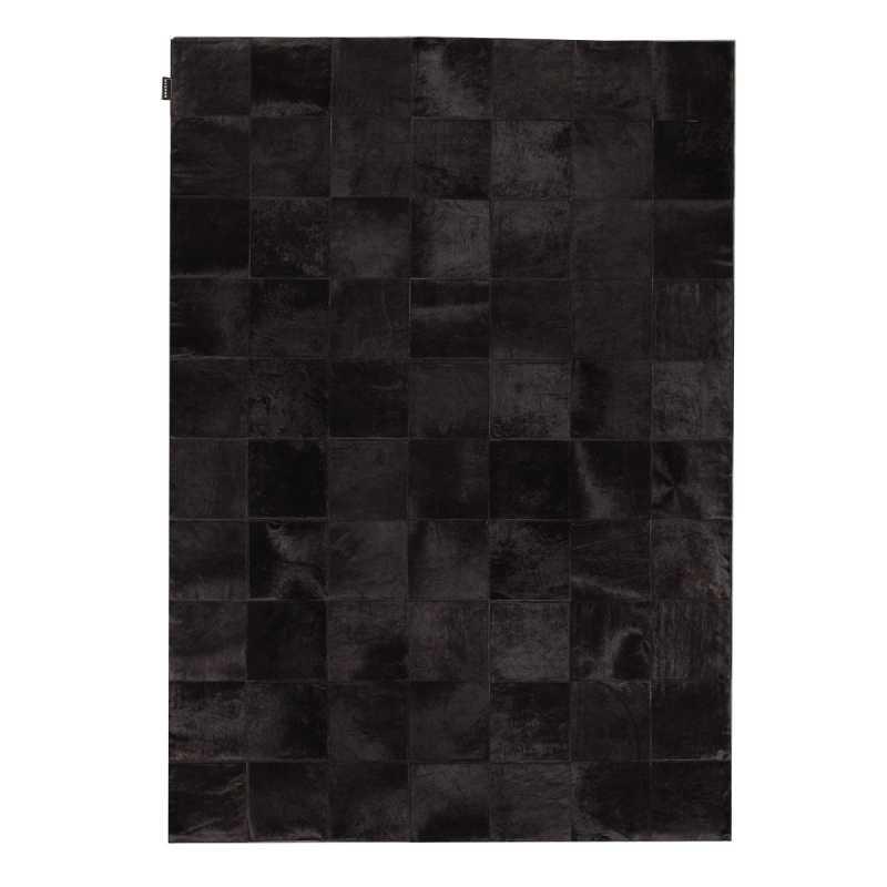 tapis haut de gamme en peau de vache noire style patchwork par angelo